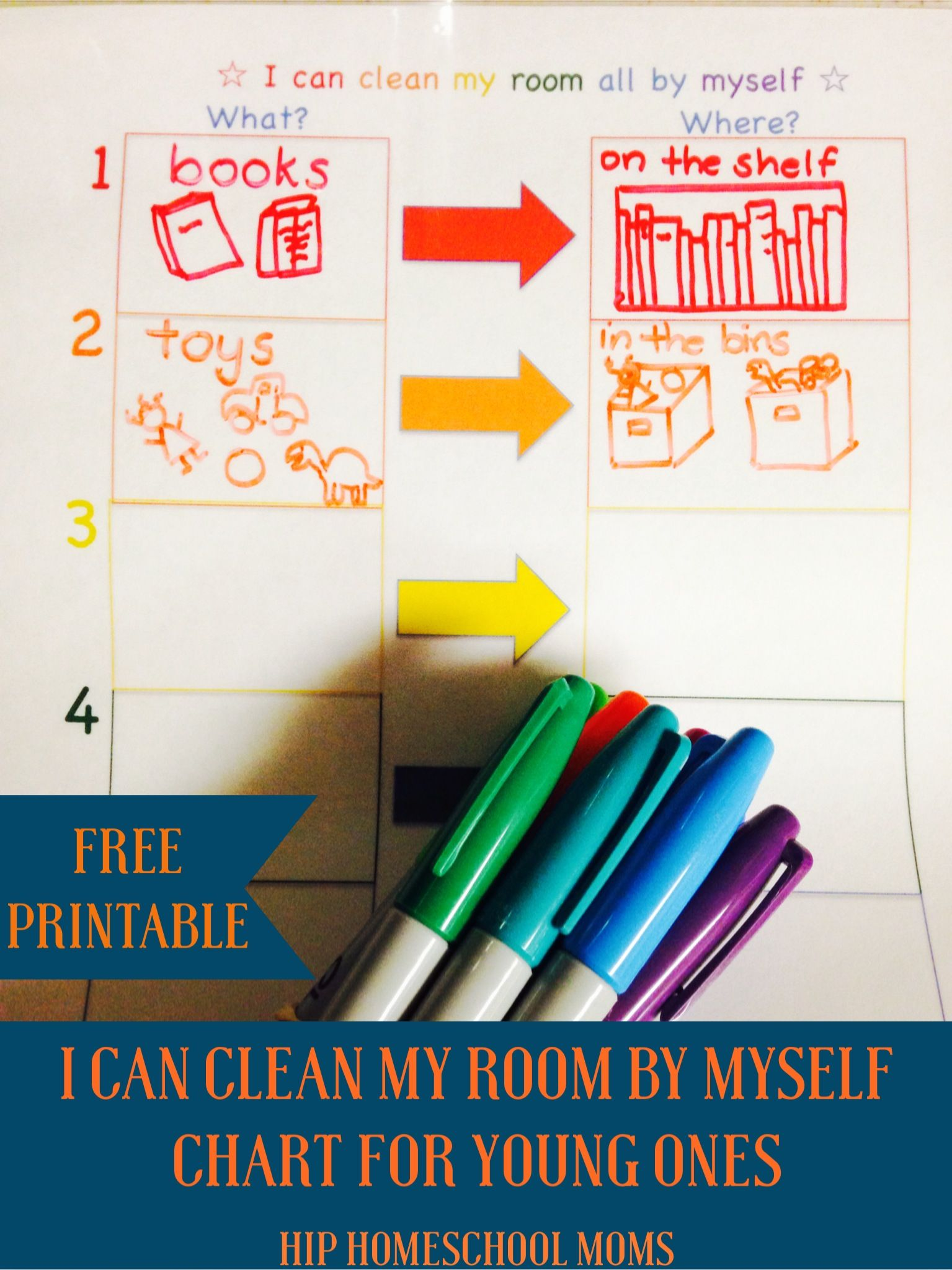 """I Can Clean My Room by Myself"" Chart with FREE Printable"