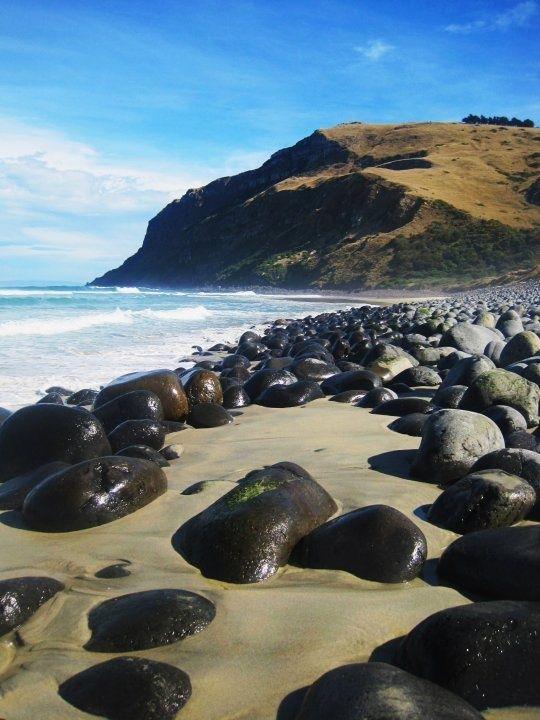 Pebble Beach near Dunedin, New Zealand.