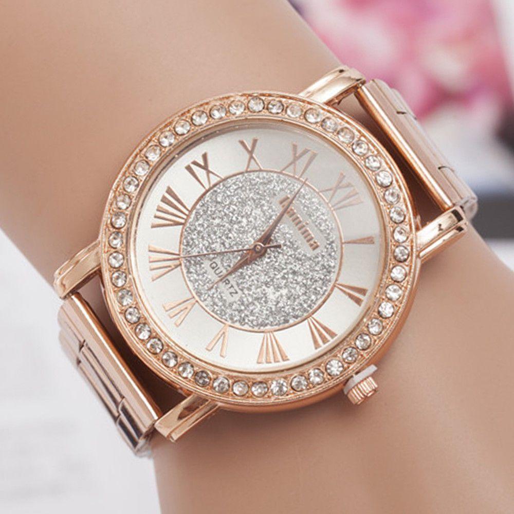 71b6b0762e4  3.99 - Luxury Ladies Quartz Stainless Steel Rhinestone Women Watch  Wristwatch Bracelets  ebay  Fashion