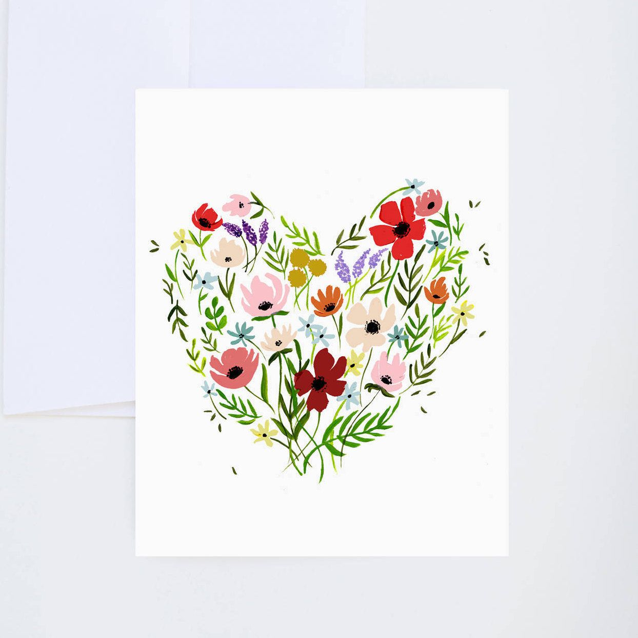 Floral Heart Painted Friendship Love Greeting Card A 2