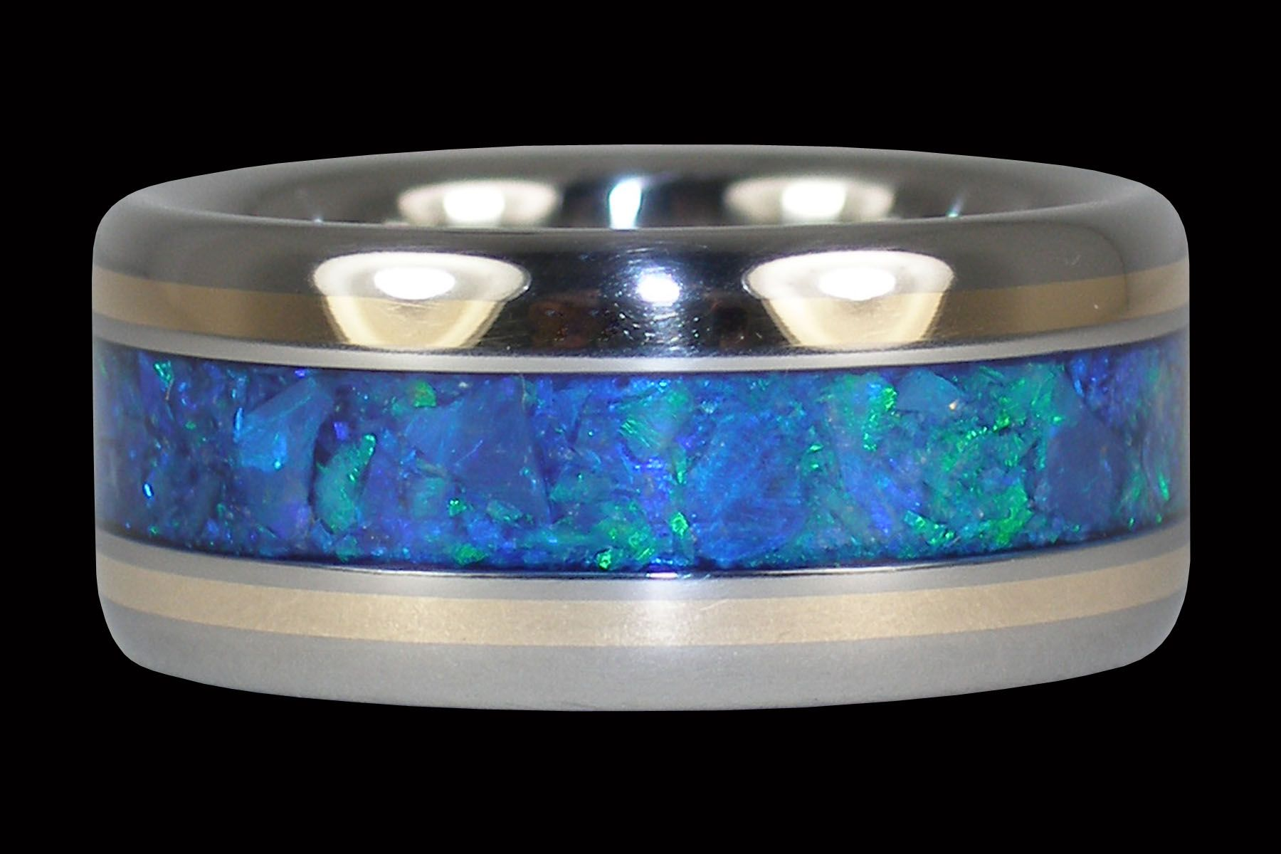 Blue Opal and Yellow Gold Ring Black opal ring, Blue opal