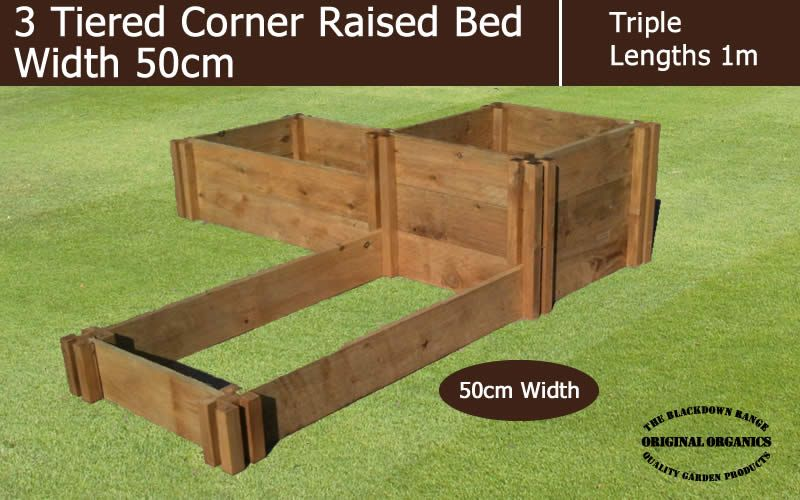50cm Wide 3 Tiered Corner Raised Bed Blackdown Range