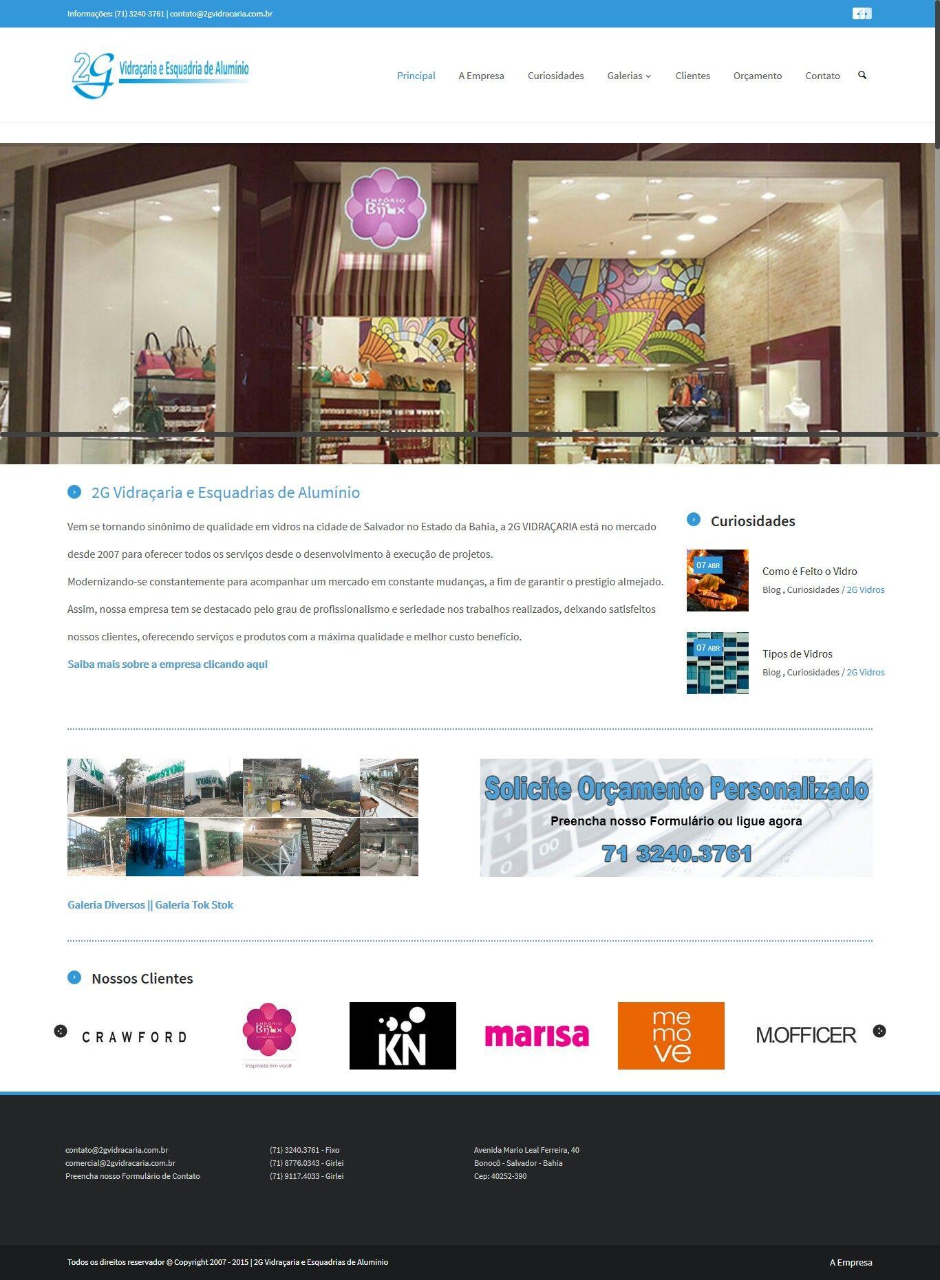 Website - 2G Vidraçaria