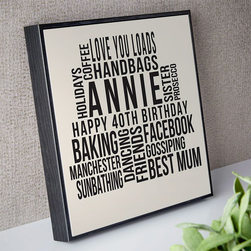 Personalised 40th Birthday Gift For Her Of Text Art