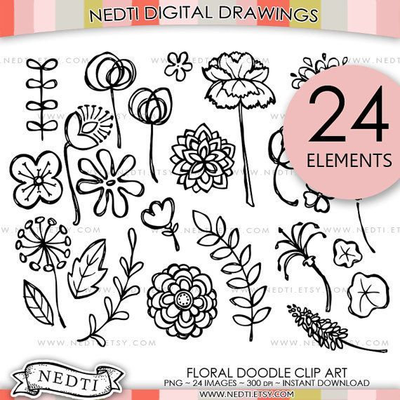 Etsy doodles drawing clipart doodle drawings art flowers hand drawn also flower clip floral digital images rh pinterest