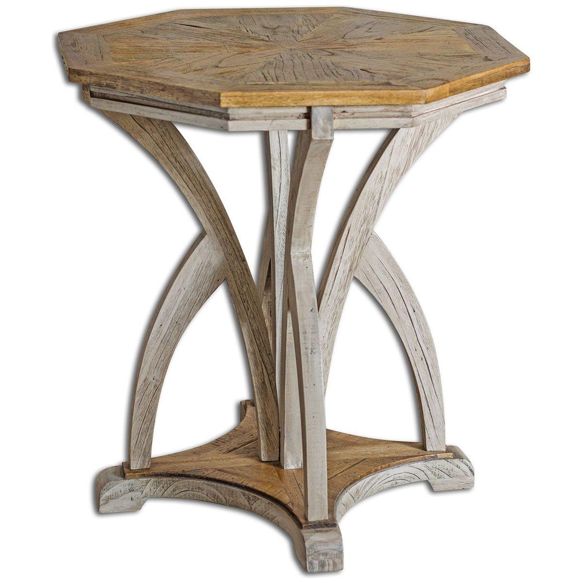 Uttermost ranen aged white accent table uttermost