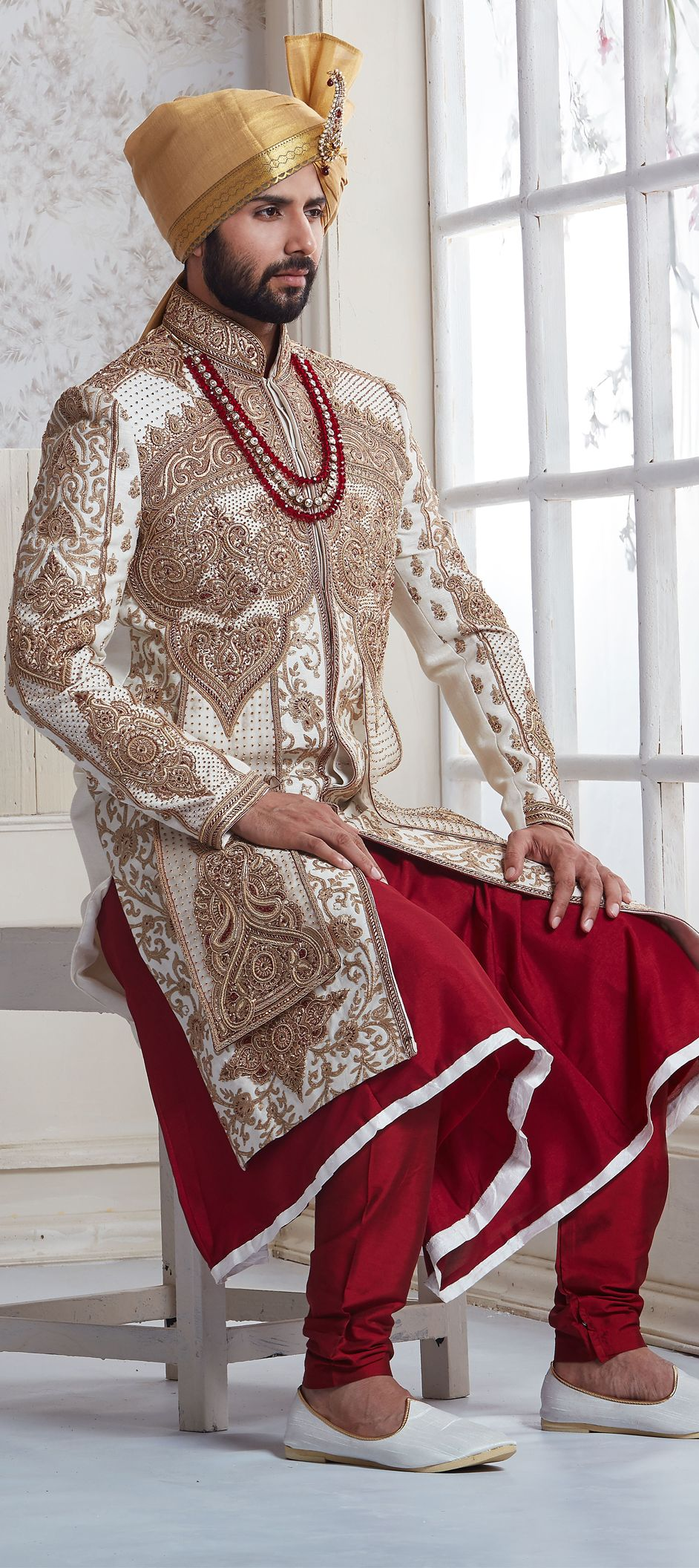 white and off white color family indowestern dress in silk