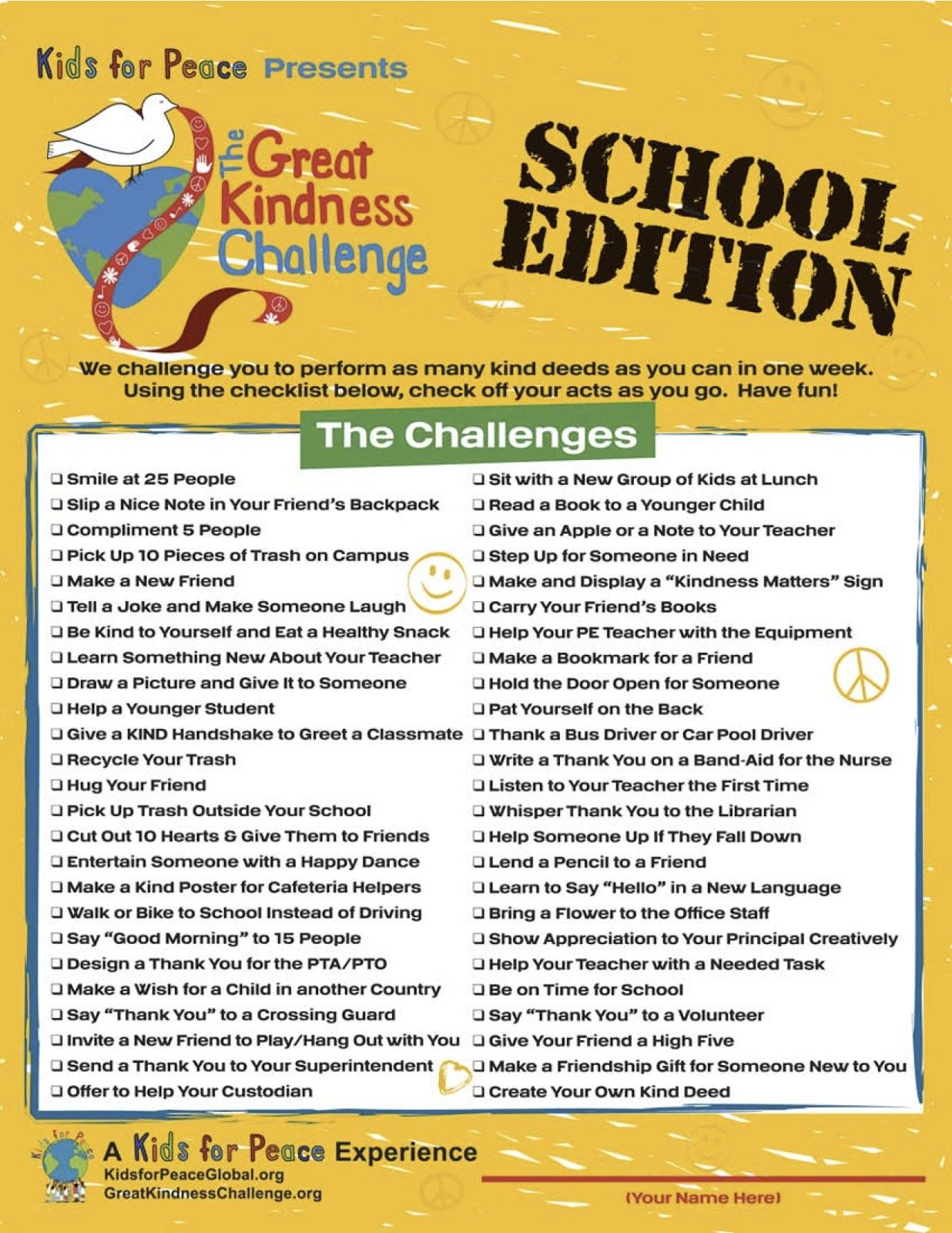 Kindness Really Matters Mitchell School Participated In The Nation Wide Program The Great