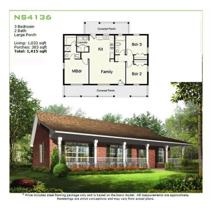 Prefab Homes - Panelized Framing Kit - NS4136 - 1,032 sq ft 3BR ...