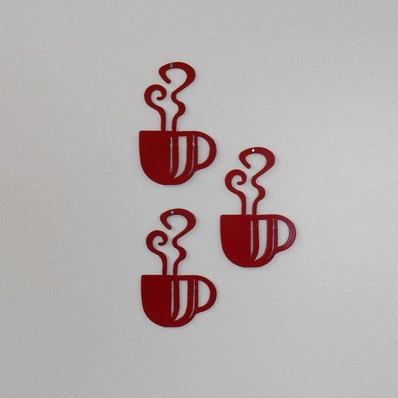 Mini Red Coffee Cup Wall Art Metal Wall Decoration In 2019