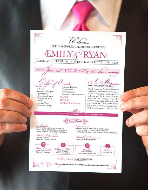 Printable Wedding Program Raspberry OnePage Event Program