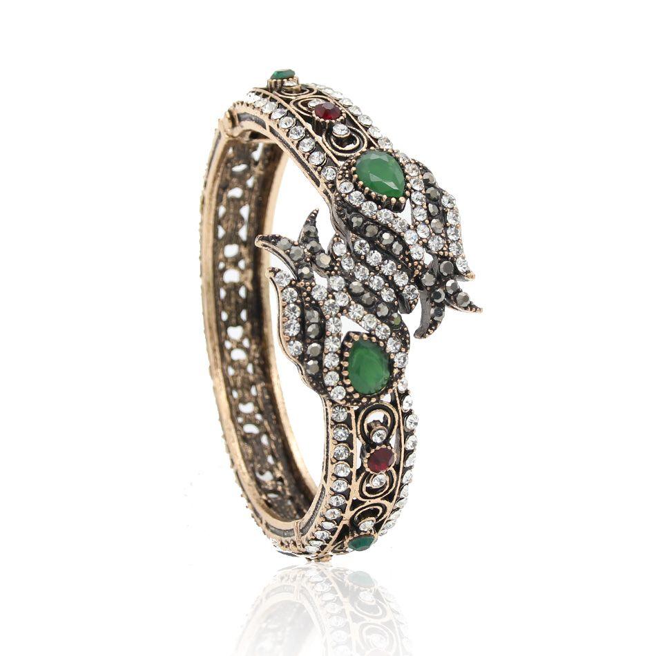 Luxuriant turkish women tulips flower bracelet cuff antique gold