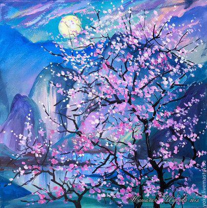 """Пейзаж ручной работы. Ярмарка Мастеров - ручная работа. Купить Картина """"Ночь Благоухания"""" (холст, акрил). Handmade. Фиолетовый, луна"""