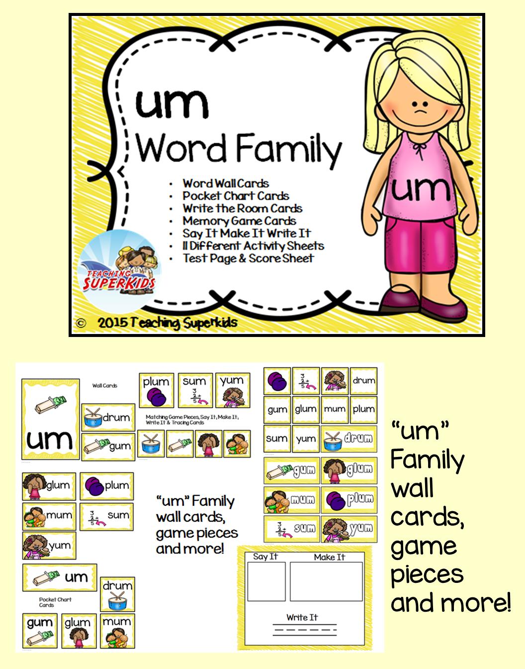 Short Vowel Word Work, Phonics, Word Families, Short u, um word family
