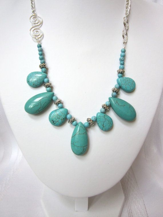 Turquoise Necklace - Turquoise Blue Howlite and Tibetan Silver Spacers