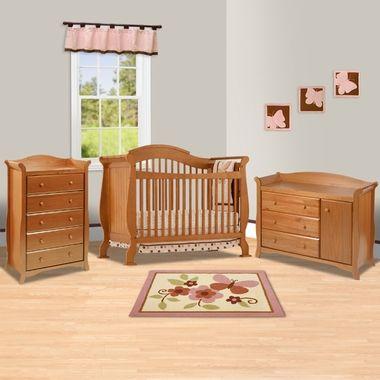 Storkcraft Oak Valentia Fixed Side Convertible Crib Aspen