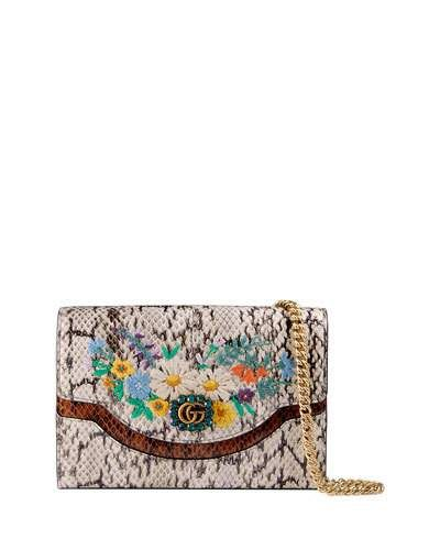 df6e75da01a ... Satchels at Neiman Marcus. GUCCI RICAMO FIORI FLORAL SNAKESKIN WALLET  ON A CHAIN.  gucci