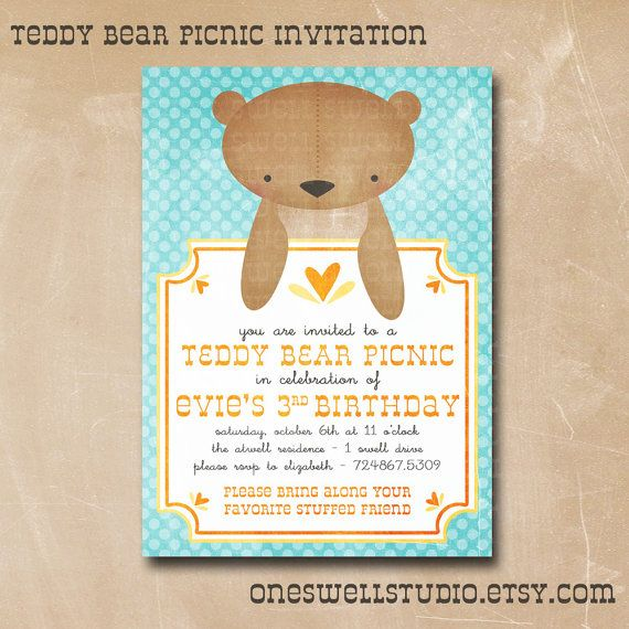 Teddy Bear Picnic Birthday Gender Reveal or Baby Shower DIY – Teddy Bears Picnic Party Invitations