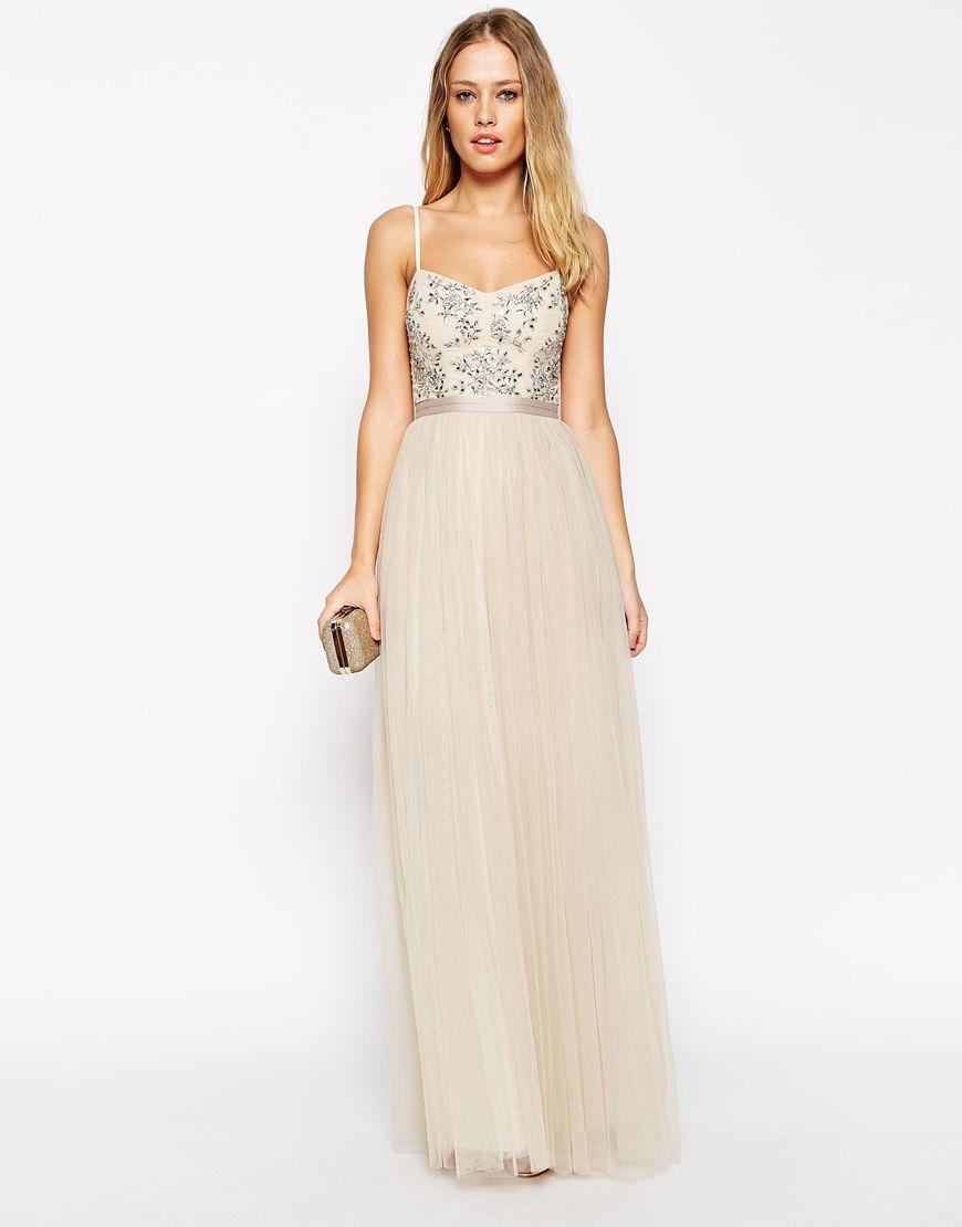 Needle Thread Embellished Crystal Petal Maxi Dress