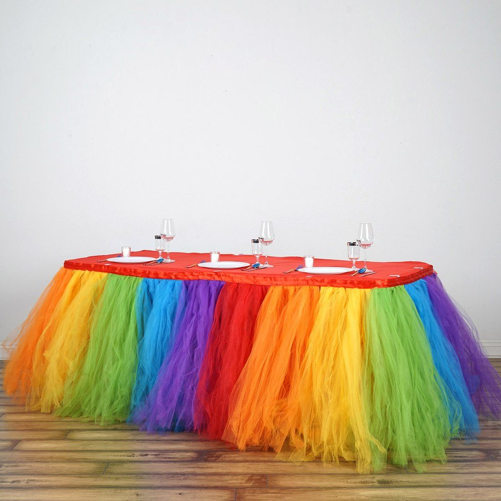 14FT Rainbow 8 Layer Tulle Tutu Pleated Table Skirt For Baby Shower Birthday Party Decoration