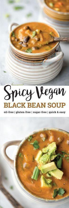 Würzige vegane schwarze Bohnensuppe - New Ideas #vegetariandish