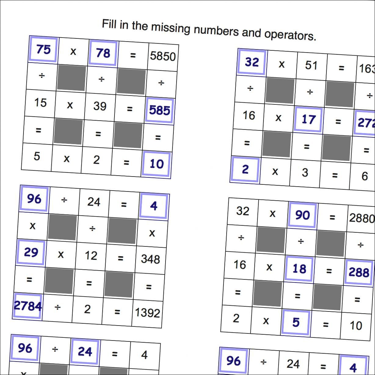 Grid Puzzle Worksheets Multiplication and Division with Missing Values  (Large)