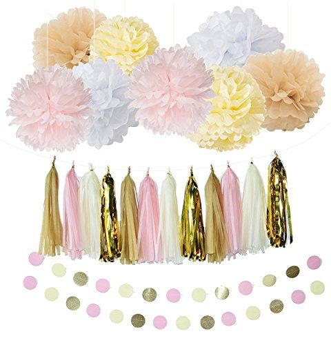 White Cream Pink Gold Tan Party Decoration Kit With Tissue Paper Tassel Garland Tissue Paper Flower Circle Garland for Rustic Wedding Baby Shower Birthday Party Nursery Decoration >>> Click on the image for additional details.Note:It is affiliate link to Amazon.