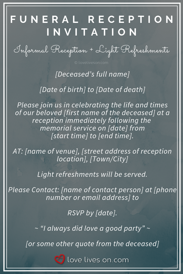 Funeral Reception Invitations Sample Wording For A Informal Reception With Light Refreshments Cli Reception Invitations Funeral Invitation Funeral Reception