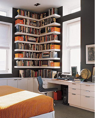 Lots Of Books, Charcoal Gray + Tangerine