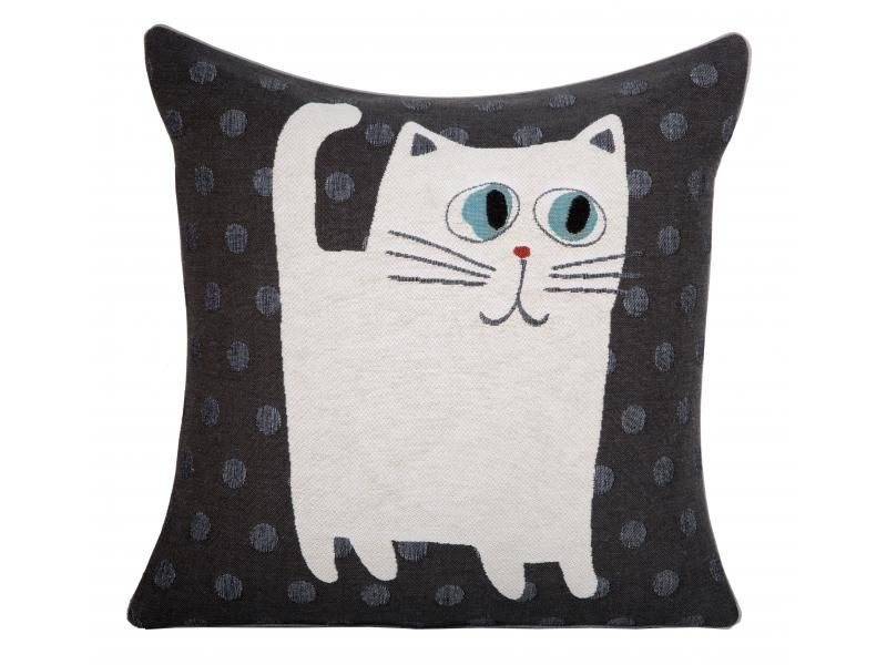 Coussin gris anthracite enfant chat Iosis - Mon Chalet Design