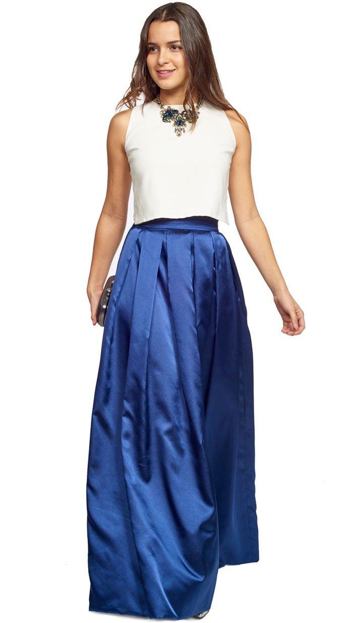 b79b962fd falda larga zul brillo para invitada de fiesta de tarde-noche ...