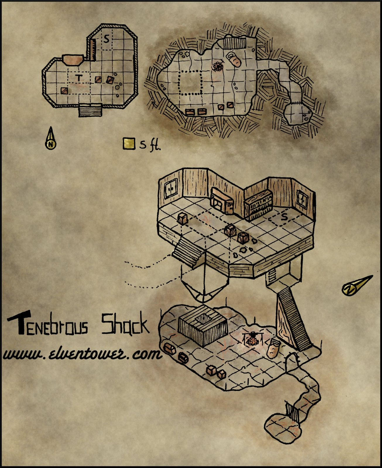 Map 25 – Tenebrous Shack | Battle Maps | Map, Dungeon maps, Fantasy