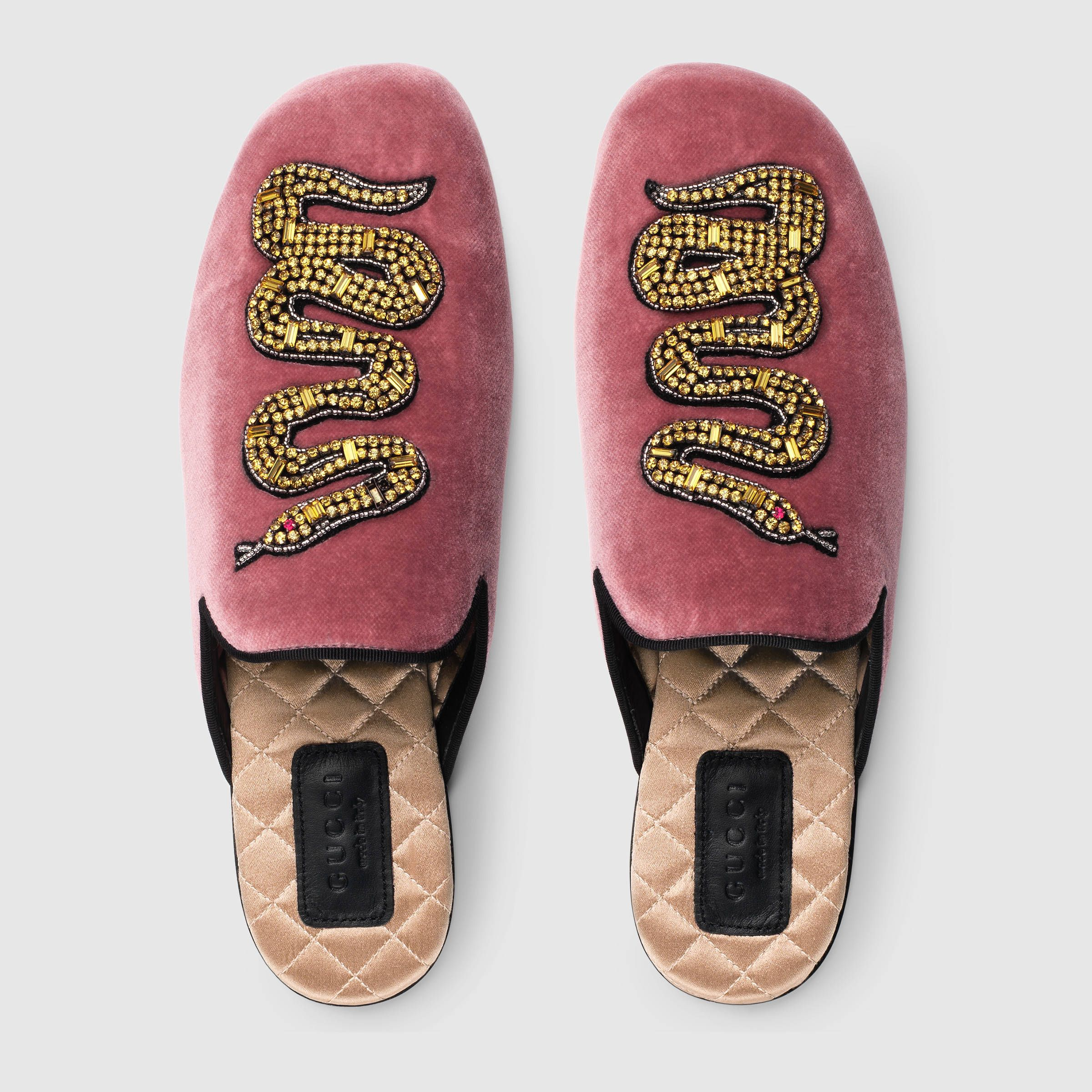 d8b194a5bb Velvet evening slipper with snake - Gucci Women's Moccasins ...