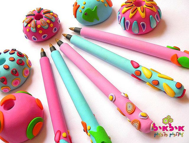 polymer clay pens and pen holders