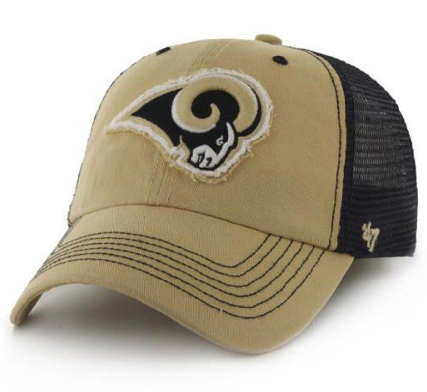 58bc5d843f4 St. Louis Rams 47 Brand Gold Navy Taylor Closer Mesh Flexfit Hat Cap ...