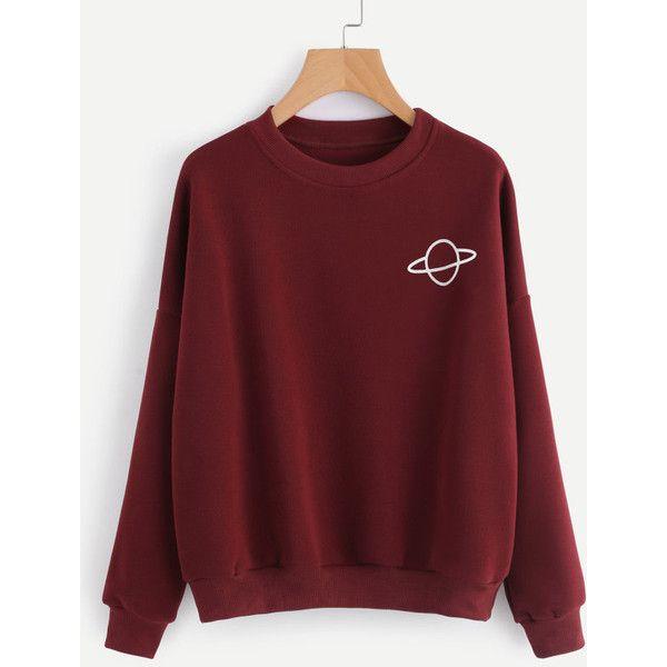 6399e9b5b1e Planet Print Sweatshirt ( 16) ❤ liked on Polyvore featuring tops ...