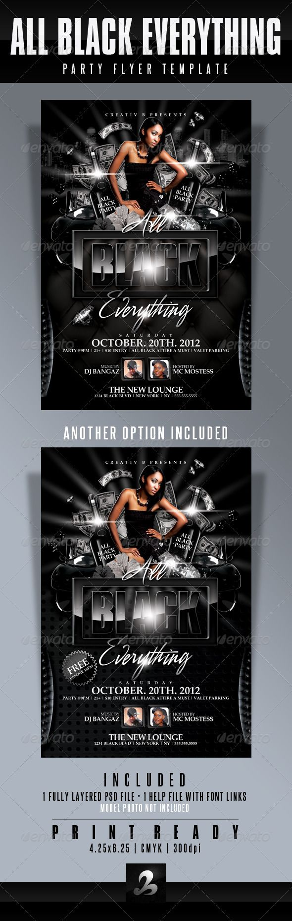 All Black Everything Party Flyer Template – Black Flyer Template
