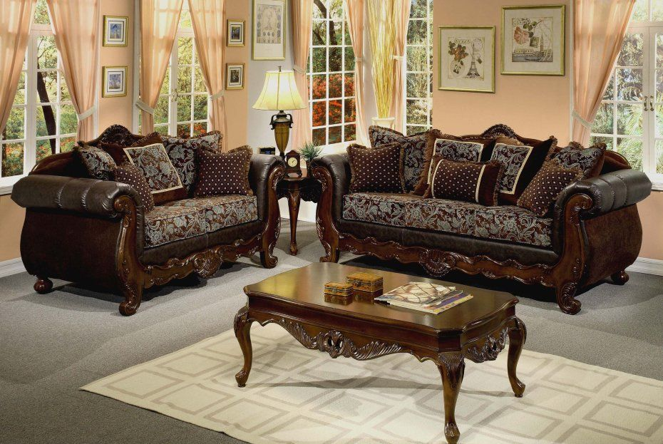 Traditional Upholstery Leather Sofa Chairs With Dark Brown Lacquer ...