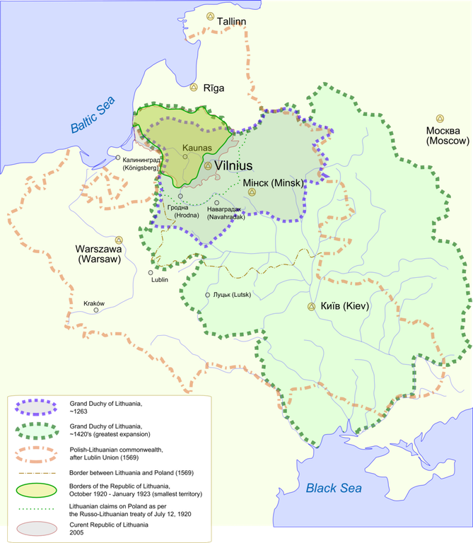 The many borders of lithuania the world pinterest lithuania lithuania map showing changes in the territory of lithuania from the century to the present day gumiabroncs Image collections