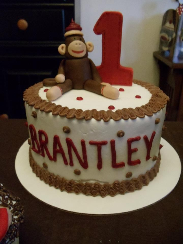 Sock Monkey 1st birthday cake by Barb the Cake Lady i can do this
