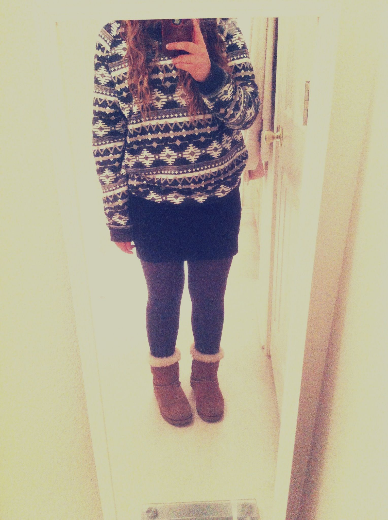 Mer outfit today~ #fashion #sweater #winter #leggings #boots