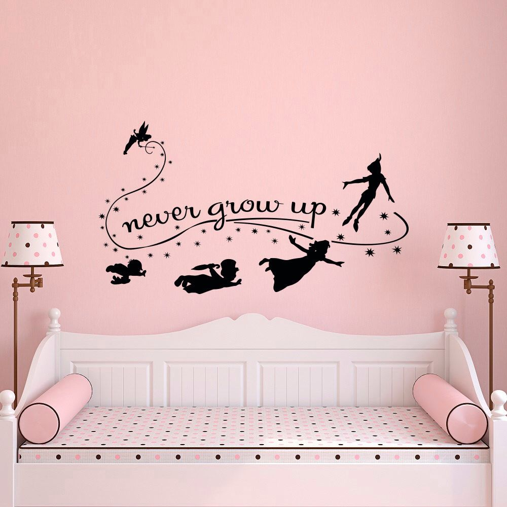 Never Grow Up Wall Decal Quote Peter Pan Wall Decals Nursery Peter