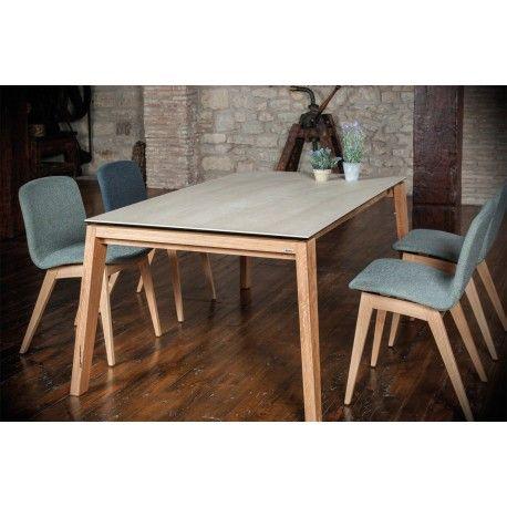 Table A Manger Extensible Rectangulaire En Plateau Ceramique Differentes Couleurs Et Pieds En Bois Hyper Solide
