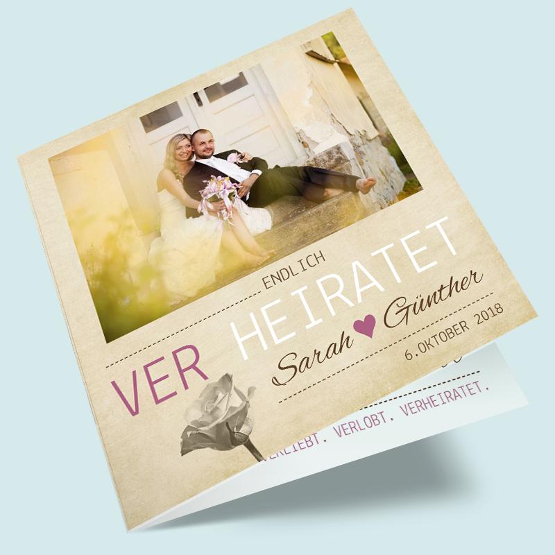 Schön Foto Dankeskarten Zur Hochzeit: Verliebt. Verlobt. Verheiratet. Das Vintage  Design Für Dankeskarten Hier Selbst Gestalten