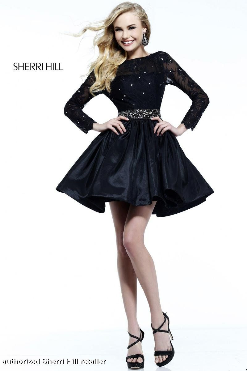 Sherri Hill Homecoming Dresses - Sherri Hill 21215 Long Lace Sleeves ...