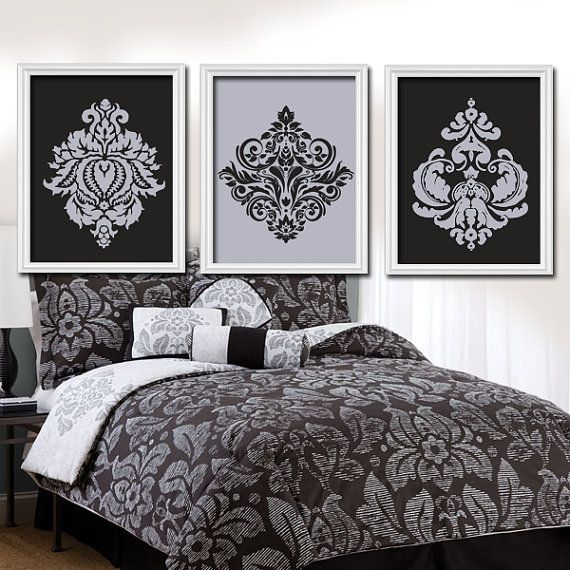 Gray Black Wall Art, Damask Bedroom Pictures, CANVAS Or Prints, Grey  Bathroom Artwork, Set Of 3, Matching Home Decor