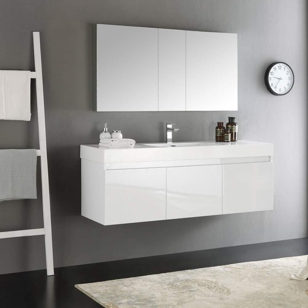 Fresca Mezzo 60 White Wall Hung Single Sink Modern Bathroom Vanity W Medicine Cabinet