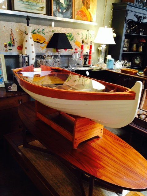 Charming Row Boat Coffee Table Hand Crafted Wooden Nautical In Mid City, Los  Angeles, CA