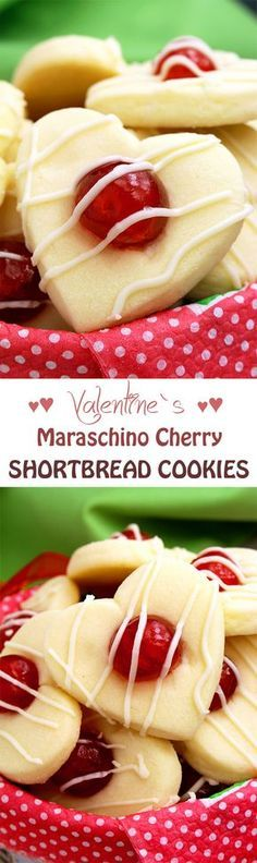 Valentine's Maraschino Cherry Shortbread Cookies.. Heart-shaped cookies for all of you who love Valentine's Day & plan to make a surprise for your loved one