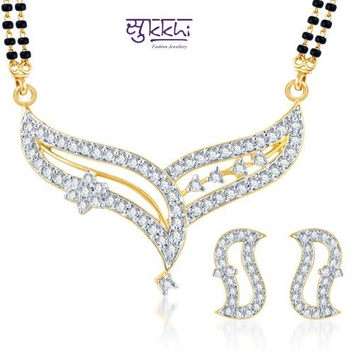 """Sukkhi Beguilling Classy CZ Gold and Rhodium Plated Mangalsutra Set (Free Mala (18"""" Or 24""""))"""